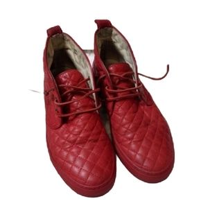 Del Toro Red Quilted Leather Chukka Sneaker Boot 8